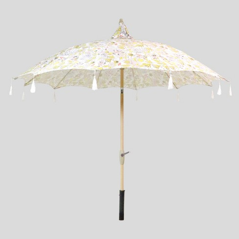 9 Party Floral Pagoda Patio Umbrella White Tassels Light Wood Pole