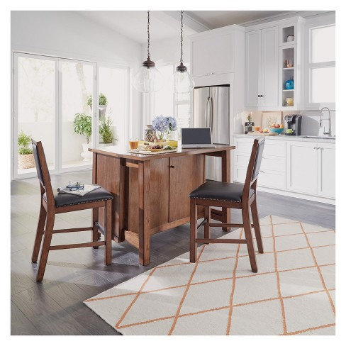 Tahoe Quartz Top Kitchen Island And 2 Stools Aged Maple Home Styles Target