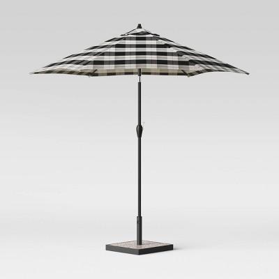 9' Round Buffalo Plaid Patio Umbrella DuraSeason Fabric™ Black - Black Pole - Threshold™