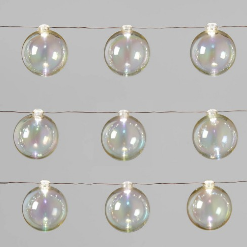 Christmas Iridescent Dew Drop String Lights 30ct LED Battery Operated Timer 50MM Pure White Globe with Copper Wire - Wondershop™ - image 1 of 4