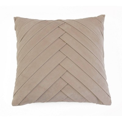 James Pleated Velvet Pillow Cobblestone - Décor Therapy