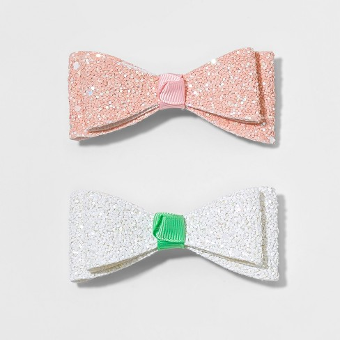 Girls' 2pk Glitter Bow Barettes - Cat & Jack™ - image 1 of 2
