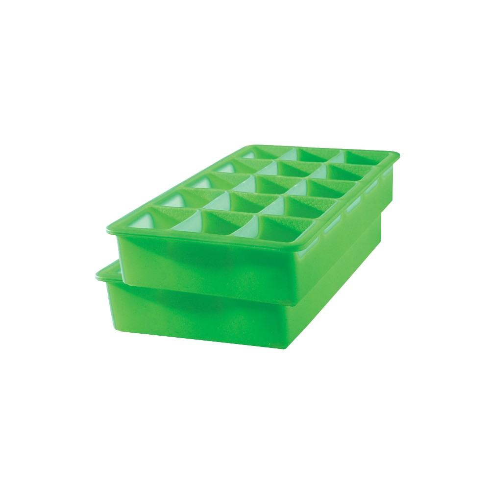 Tovolo Perfect Cube Silicone Ice-Cube Trays, 2 pk - Green