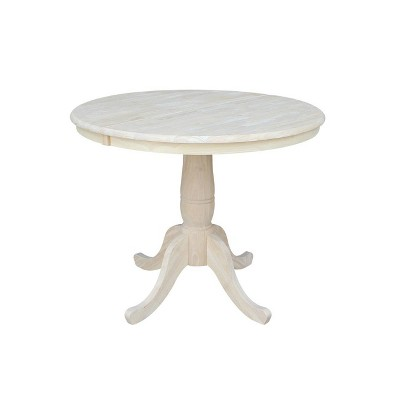 """36"""" Round Top Pedestal Dining Table with 12"""" Drop Leaf - International Concepts"""