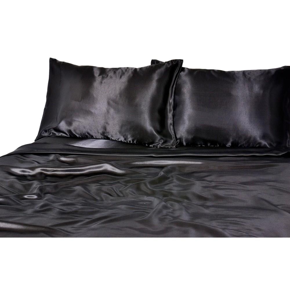 Luxury Satin 100% Polyester Woven Sheet Set Twin Black