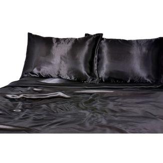 Luxury Satin 100% Polyester Woven Sheet Set Queen Black