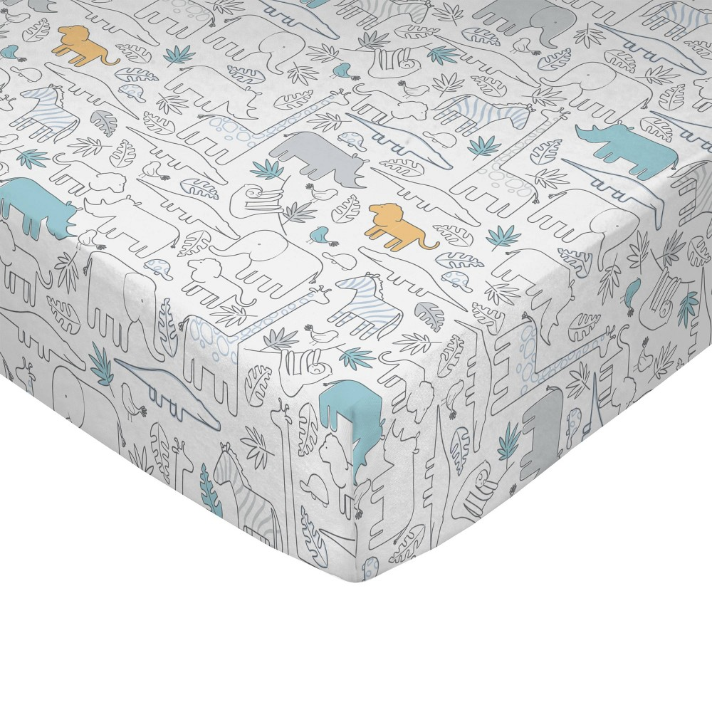 Image of Lolli Living Baby Crib Fitted Sheet - Safari