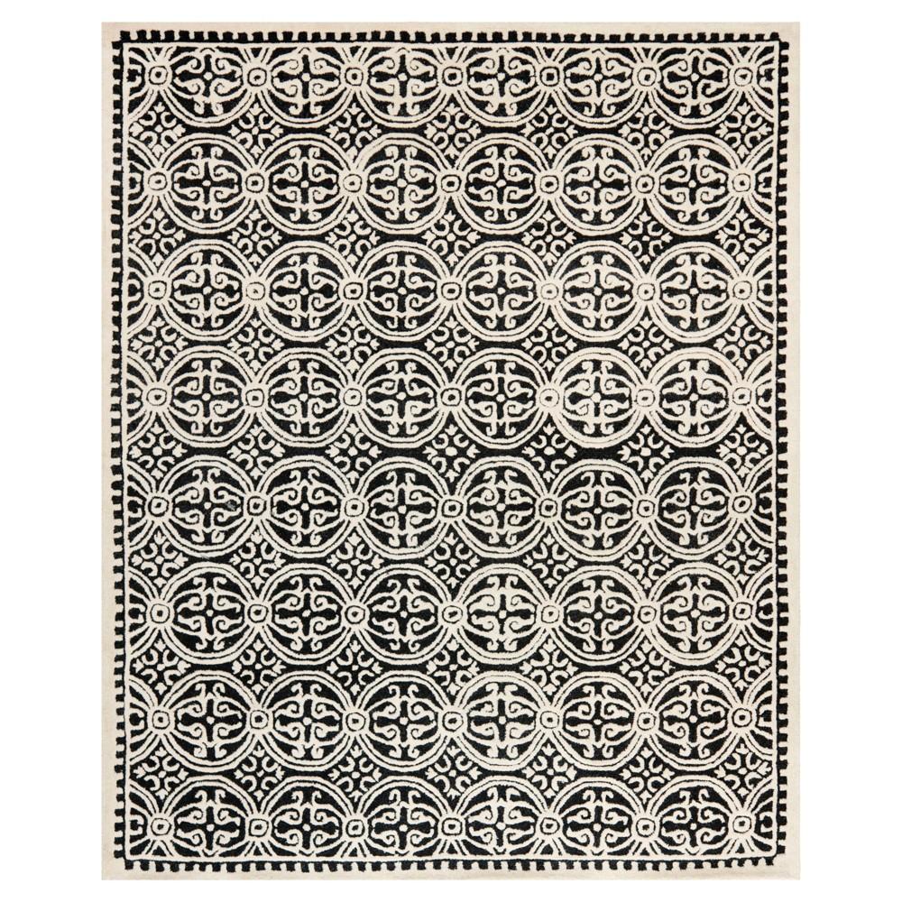 Geometric Area Rug Black/Ivory