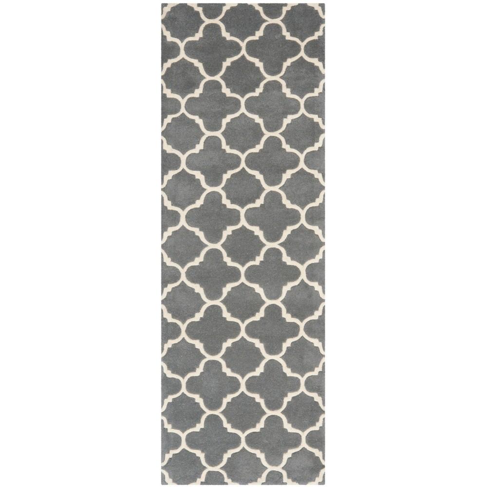 2'3X11' Tufted Quatrefoil Design Runner Rug Dark Gray - Safavieh, Dark Gray/Ivory