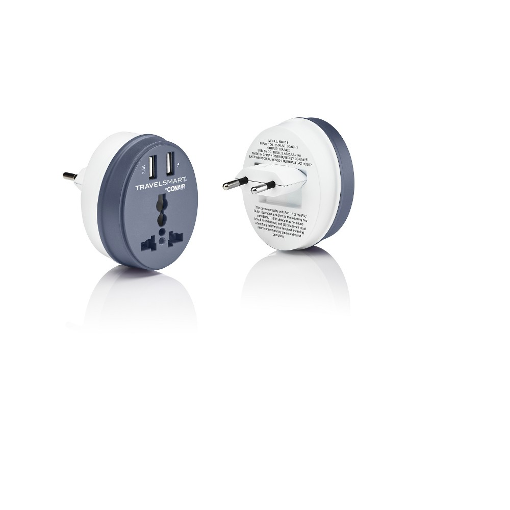 Image of Travel Smart EU Adapter Plug with Outlet and 2 USB Ports