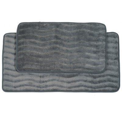 Wave Memory Foam Bath Mat Set 2pc Gray - Yorkshire Home - Yorkshire Home