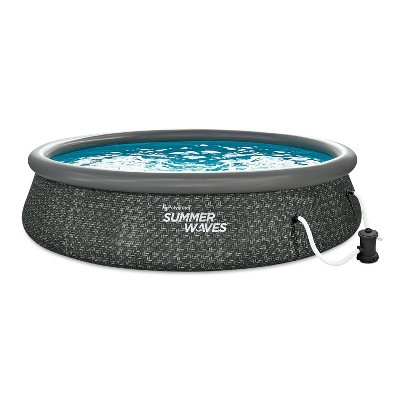 Summer Waves P1A01436E 14 Foot x 3 Foot Quick Set Ring Above Ground Outdoor Swimming Pool with RX600 GFCI Filter Pump and Ladder, Dark Wicker