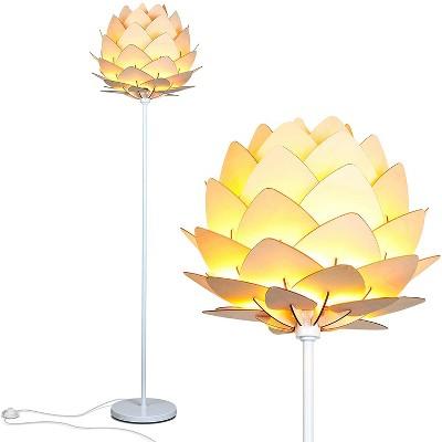 Brightech Artichoke Multi Panel Wooden Shade Design Unique 68 Inch Tall Free Standing Pole LED Floor Lamp, Silver