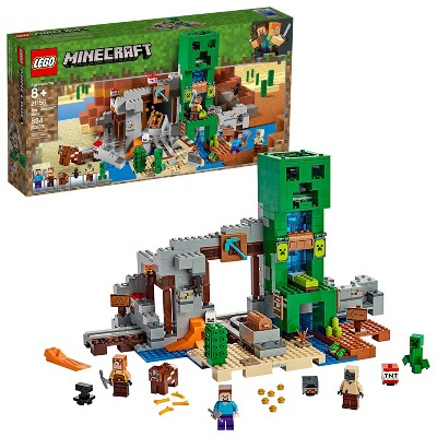 LEGO Minecraft The Creeper Mine Toy Rail Track and Mine Building Set with Minifigures 21155