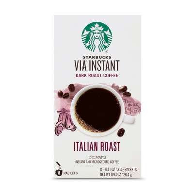 Starbucks VIA Instant Coffee Dark Roast Packets — Italian Roast — 100% Arabica — 1 box (8 packets)