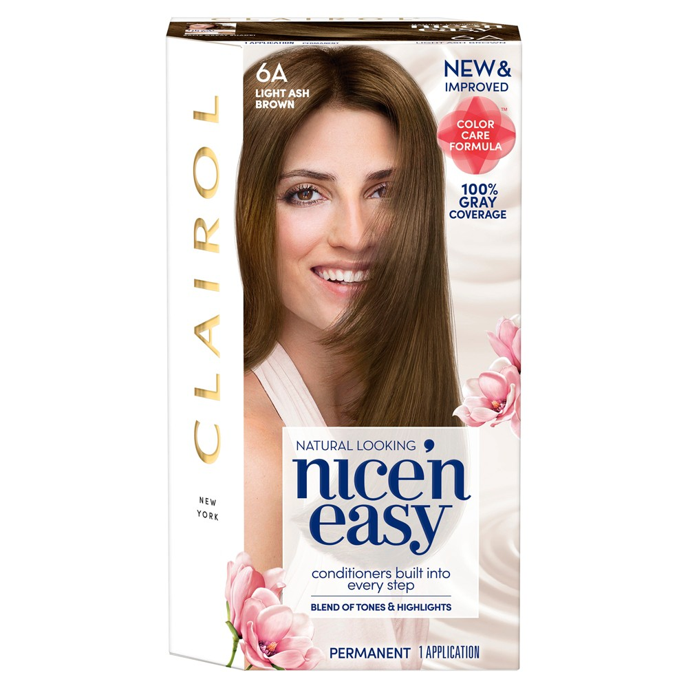 Image of Clairol Nice 'N Easy Permanent Hair Color - 6A Light Ash Brown - 1 Kit, 6A Light Grey Brown