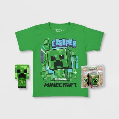 Boys' Minecraft Creeper Short Sleeve Graphic T-Shirt with Funko POP! - Green