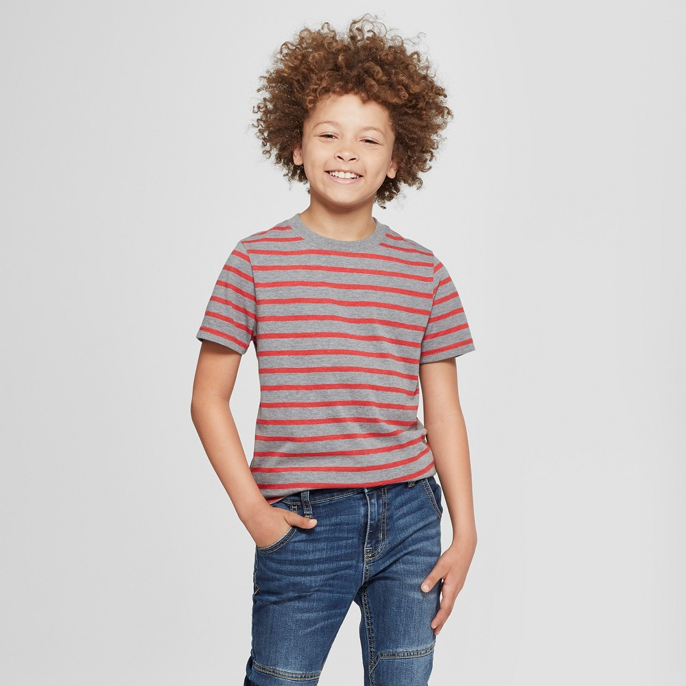 Boys' Short Sleeve Stripe T-Shirt - Cat & Jack Red/Gray XL