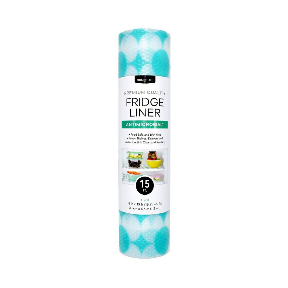 "Image of ""Mindfull 13"""" x 15' Antimicrobial Polka Dot Fridge Liner Blue"""