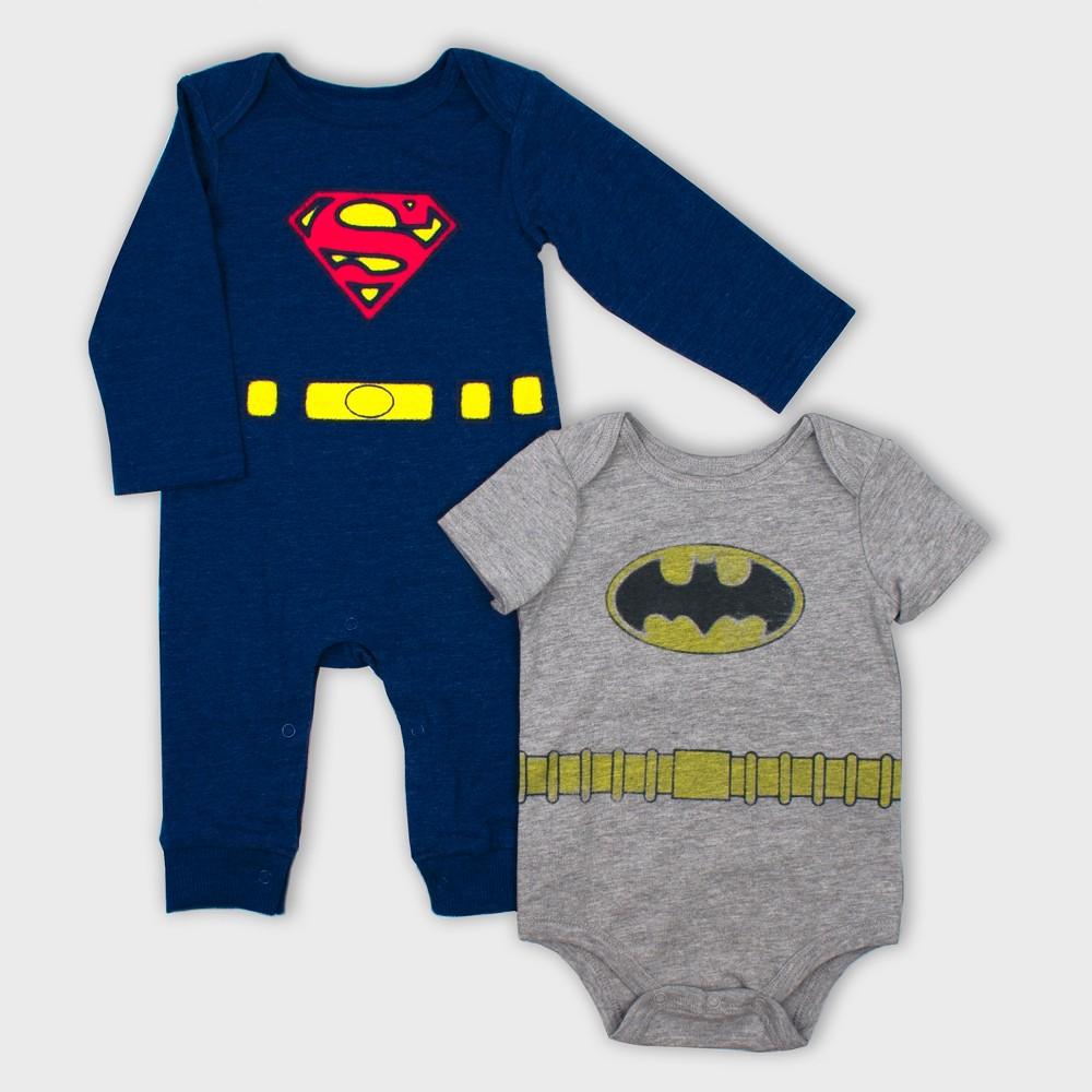 Image of Baby Boys' 2pk DC Comics Batman & Superman Bodysuit Set - Gray/Navy 0-3M, Boy's, Blue