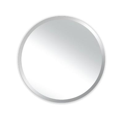 """24"""" Westport Round Frameless Beveled Glass Wall Mirror Silver - Alpine Art & Mirror"""