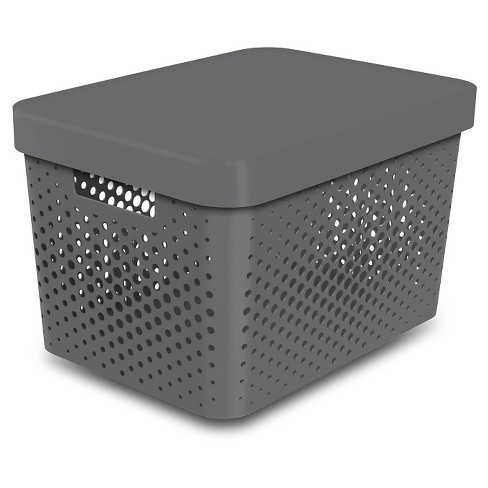 Storage Large Bin- Perforated Gray - Room Essentials™ - image 1 of 1