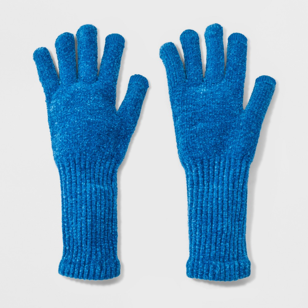 Women's Chenille with Extended Cuff and Tech Touch Gloves - A New Day Blue