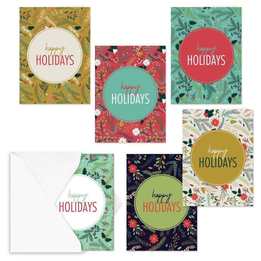 Image of 24ct Holiday Greenery Greeting Cards - Masterpiece Studio