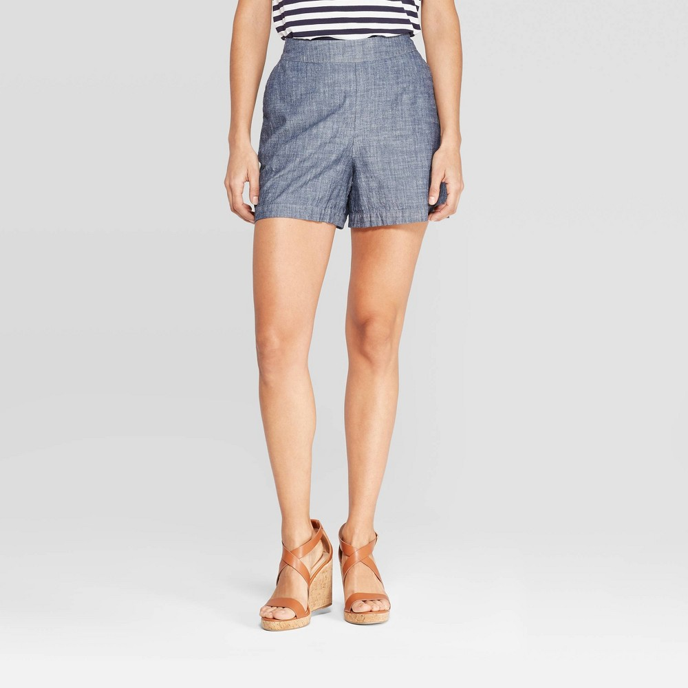 Women's High-Rise Chambray Shorts - A New Day Dark Blue S