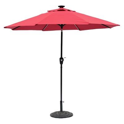 Sun Ray Next Gen 9u0027 Round Solar Lighted Aluminum Patio Umbrella   Scarlet    J U0026 J Global