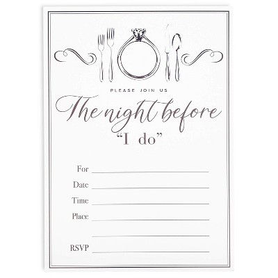 "36 Pack Wedding Rehearsal Party Fill-in Invitation with Envelopes, Ring Design, White, 5"" x 7"""