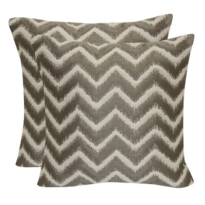 Mushroom Jacquard Chevron Throw Pillow with Suede Back (18 x18 )- Brentwood