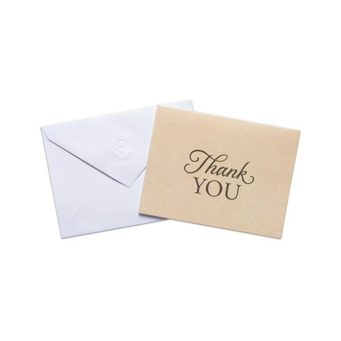 50ct Kraft Thank You Cards And Envelopes Target