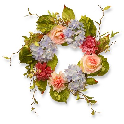 "Dahlia Hydrangea and Rose Wreath (23"")"