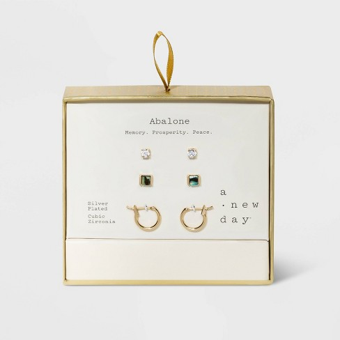 Semi-Precious with Cubic Zirconia and Hoop Earring Set 3pc - A New Day™ - image 1 of 3