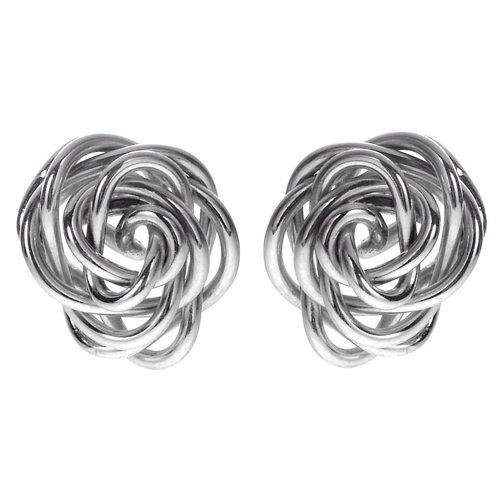 Women's Journee Collection Handmade Rose Stud Earrings in Goldfill Sterling Silver - Silver