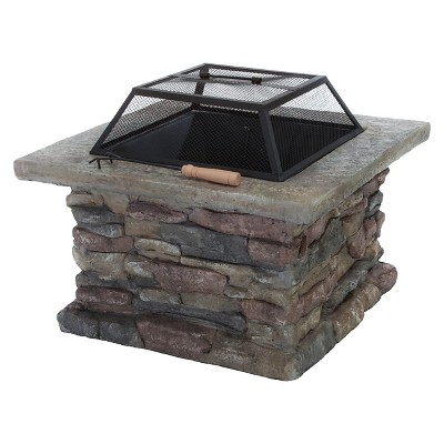 Corporal 29  Cement Wood Burning Square Fire Pit - Light Gray - Christopher Knight Home