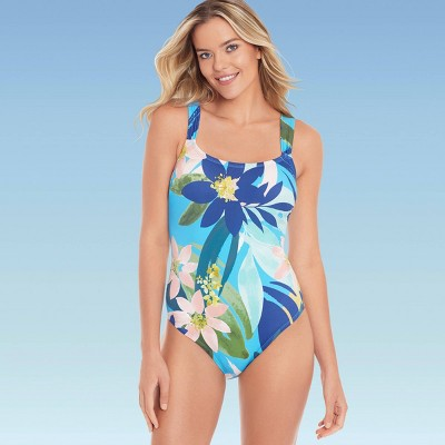 Women's Slimming Control Lace-Up Back One Piece Swimsuit - Beach Betty by Miracle Brands Tropical Print