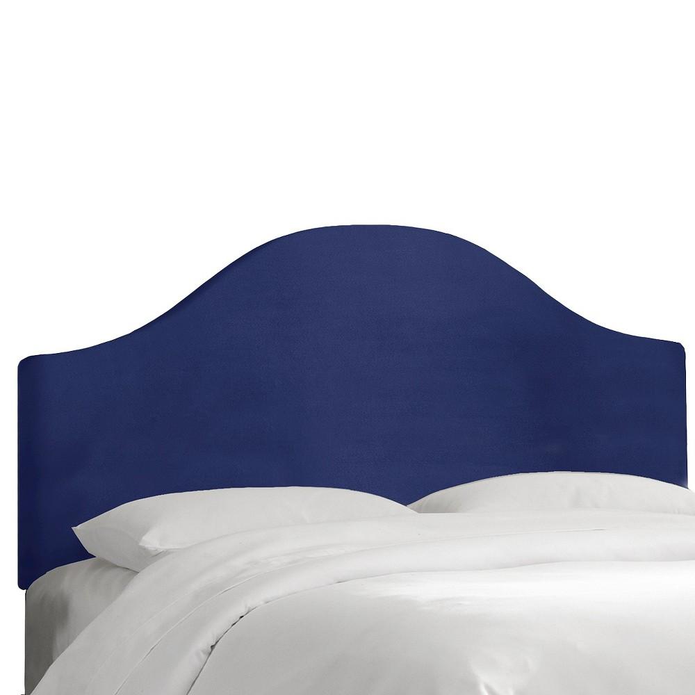 Custom Upholstered Curved Headboard - Velvet Navy - California King - Skyline Furniture