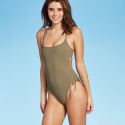 Women's Cinch Side Ribbed Texture One Piece Swimsuit - Xhilaration™ Olive Green