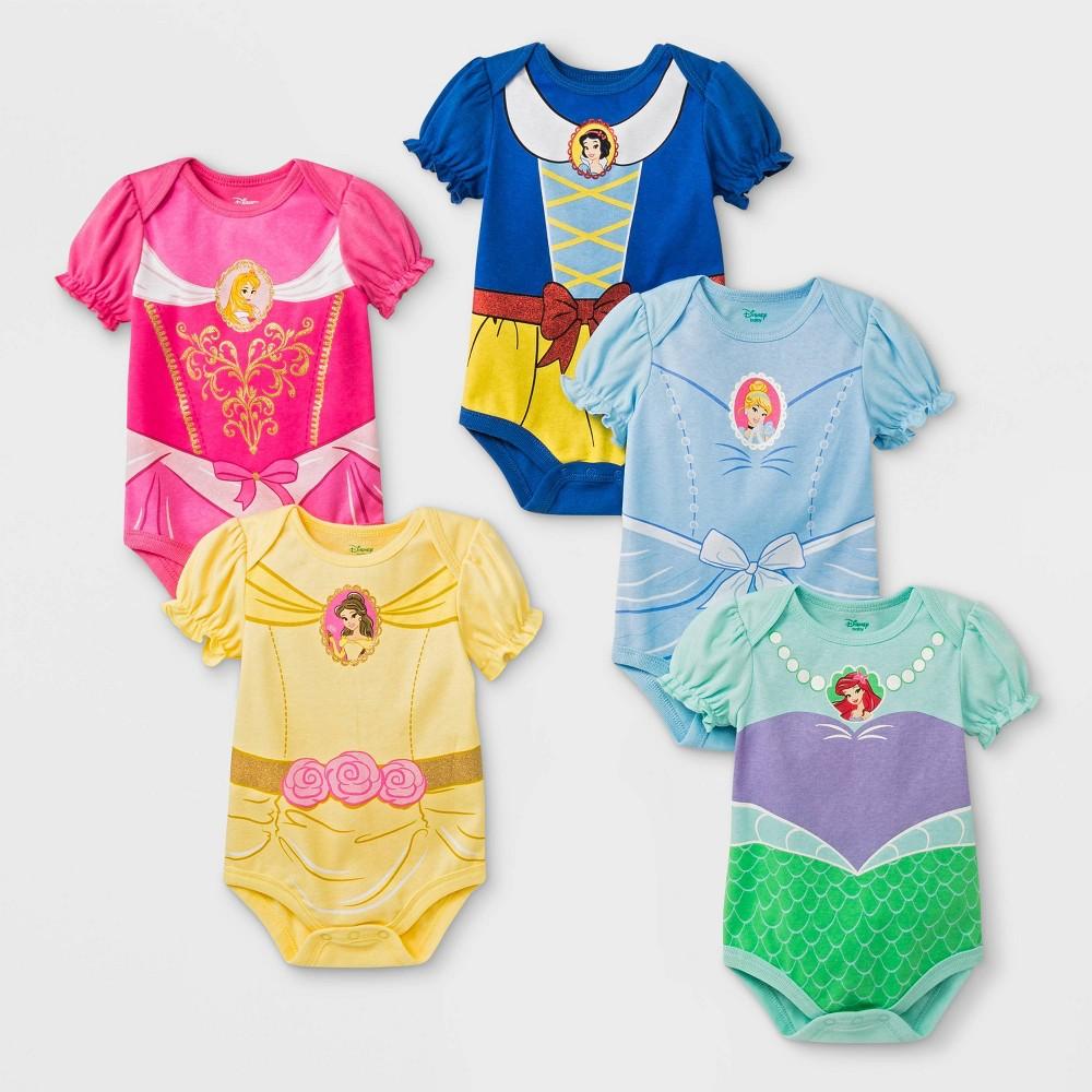 Baby Girls' 5pk Disney Princess Bodysuits - 24M, Multicolored