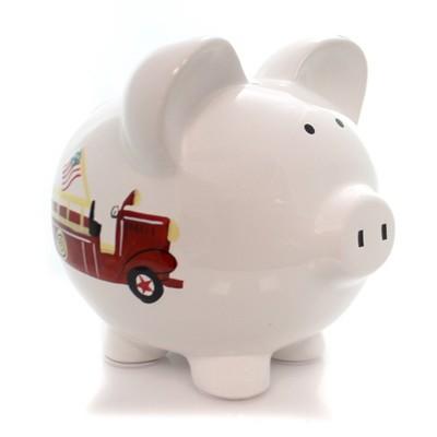 "Bank 7.75"" Firetruck Piggy Bank Hose Hydrant Ladder  -  Decorative Banks"