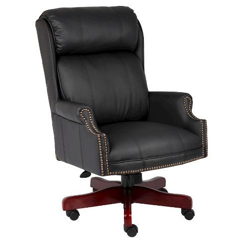 Traditional High Back Caressoftplus Chair with Mahogany Base Black - Boss Office Products - image 1 of 4