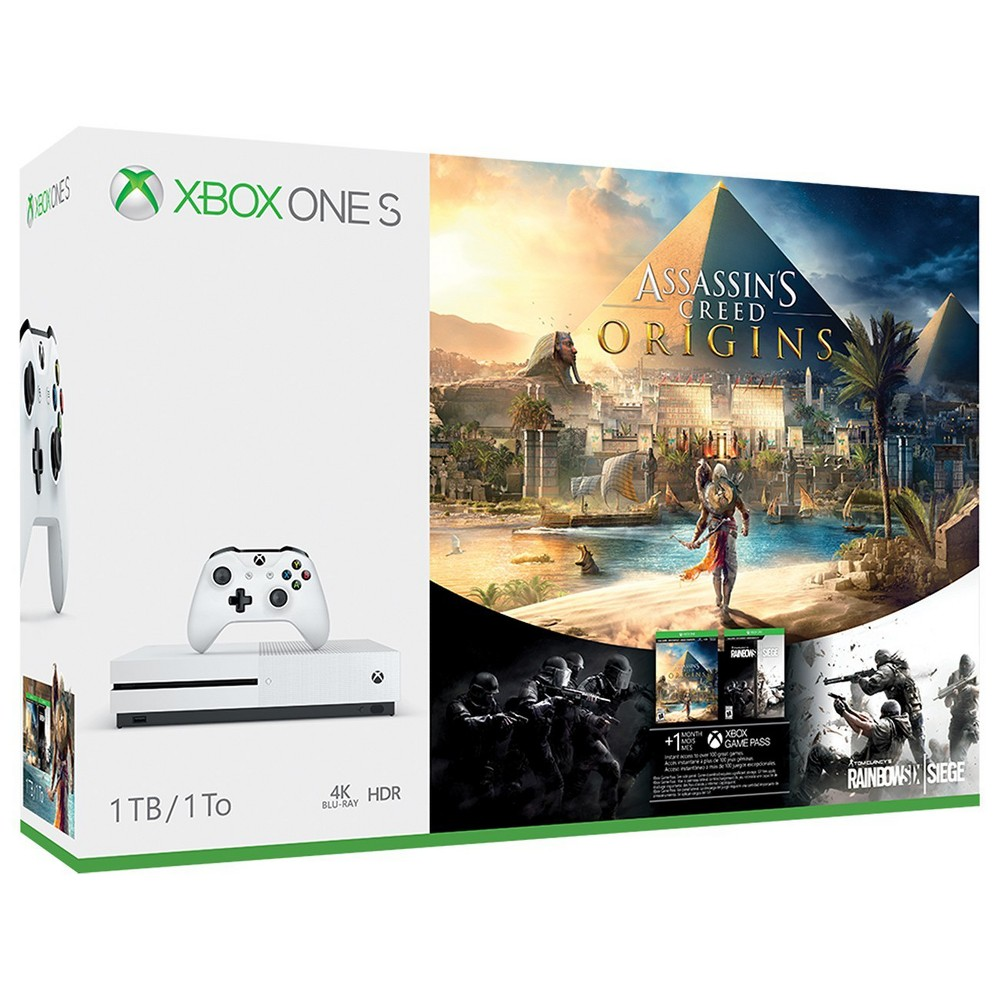 Xbox One S 1TB Assassin's Creed Origins Bonus Bundle Xbox One S 1TB Assassin's Creed Origins Bonus Bundle Color: White. Gender: unisex.