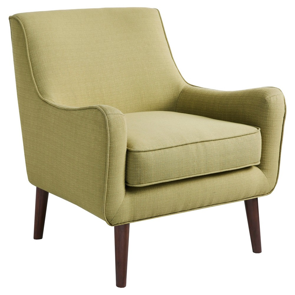 Update your living room with the Nathan Chair. Featuring mid-century inspired curves, this chair is upholstered in a soft green fabric that adds a light contrast to the room decor. The frame is composed from select hardwoods and plywood and is elevated on smooth tapered wooden legs in espresso finish. Leg assembly required. Pattern: Solid.