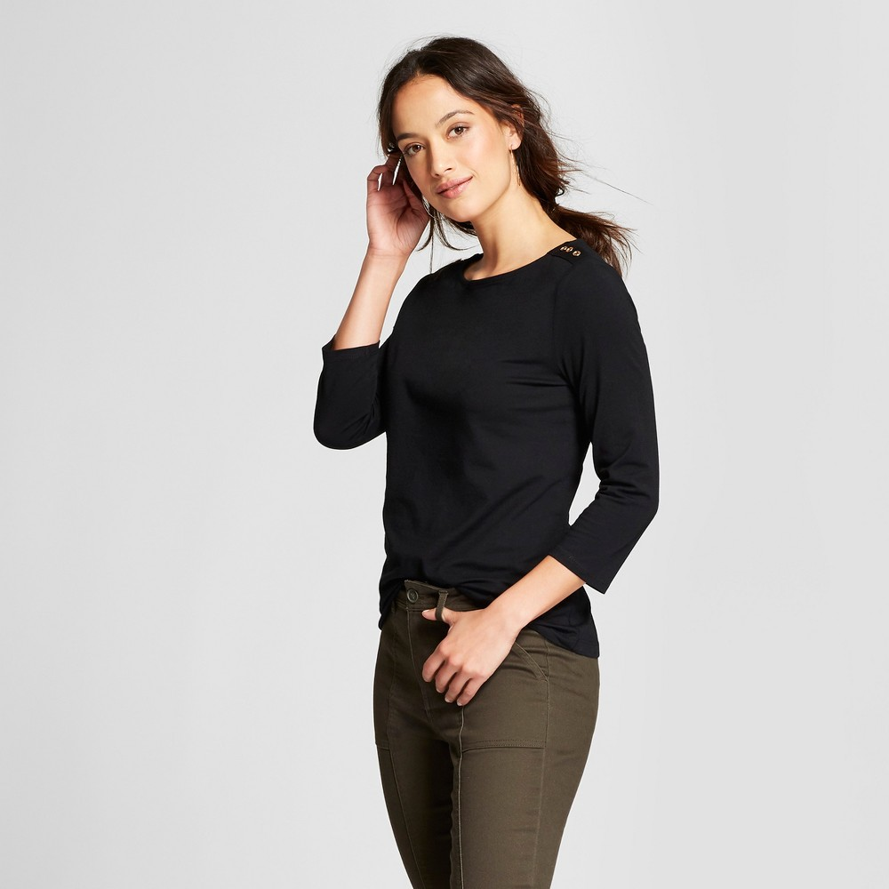 Women's 3/4 Sleeve Boatneck T-Shirt - A New Day Black S