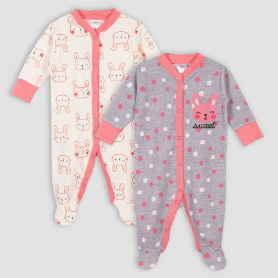 Gerber Baby Girls' 2pk Bunny Thermal Sleep N' Play - Gray/White Newborn