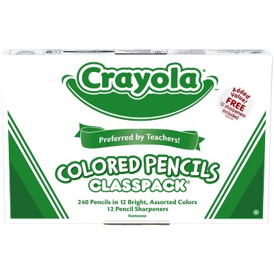 Crayola Colored Pencil Classpack with 12 Sharpeners, Assorted Colors, set of 240
