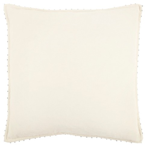 Rizzy Home Velvet Solid Throw Pillow Ivory - image 1 of 3