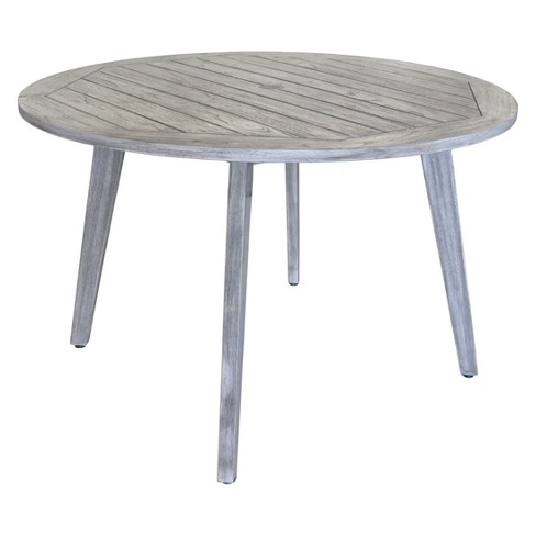Teak Round La Jolla Outdoor Dining Table With Umbrella Hole And Cover Driftwood Gray Courtyard Casual Target